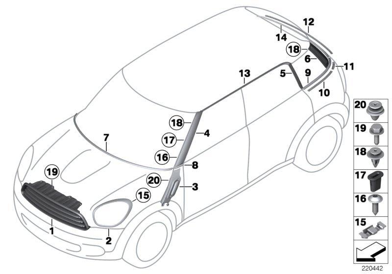 Mini Cooper S Cm наружные накладки декоративные решетки Bmw